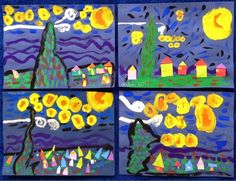 I have posted about Van Gogh's Starry Night for a number of years, and in a number of different ways. It is a painting that will alway. Lessons For Kids, Art Lessons, Johns Creek, Teaching Career, Easy Arts And Crafts, Art Curriculum, Arts Ed, Community Art, Famous Artists