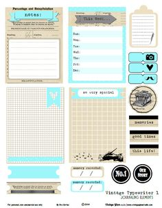 Vintage Typewriter 1 Journaling Cards - Free Printable Download - Vintage Glam Studio