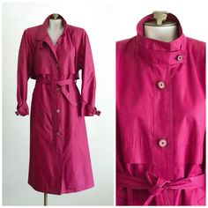 1980s pink belted trench coat from London Fog SIZE 8 R by TimeTravelFashions on Etsy