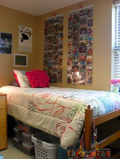 "Cute room! (scroll down to ""Kelsey's Colorful, Organized Dorm"") Thanks, @Jaclyn Whiteside!"