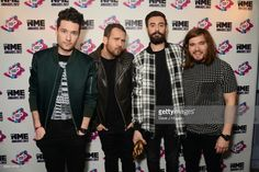Dan Smith, Will Farquarson, Kyle Simmons and Chris Wood of Bastille pose in the winners room at the VO5 NME Awards 2017 at The O2 Academy Brixton on February 15, 2017 in London, United Kingdom.