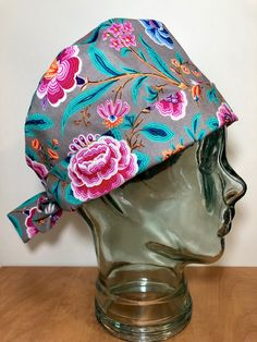 Pink Peonies and Teal Leaves on Grey Surgical Scrub Hat, Women's Floral Pixie Scrub Hat, Custom Caps Company by CustomCapsCompany on Etsy Custom Caps, Surgical Tech, Scrub Caps, Pink Peonies, Tech Accessories, Scrubs, Pixie, Teal, Leaves