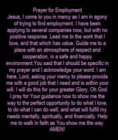 Prayers for Employment Prayer Times, Prayer Scriptures, Bible Prayers, Faith Prayer, God Prayer, Catholic Prayers, Prayer Quotes, Power Of Prayer, Spiritual Quotes