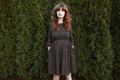 Oxford Blue Dress   Floral Print Dress  3/4 Sleeve Dress  by OffOn