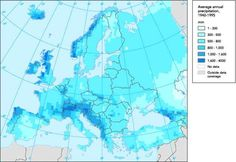 A map showing the average annual rainfall in Europe.