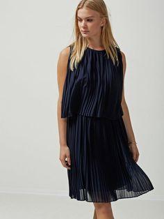 PLEATED - SLEEVELESS DRESS, Dark Sapphire, large