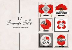 Summer Sale Instagram Pack by Gina Heyer  on @creativemarket Social Media Template, Social Media Design, Instagram Boost, Summer Poster, Youtube Channel Art, Hello Beautiful, Summer Sale, Spring Summer, Creative