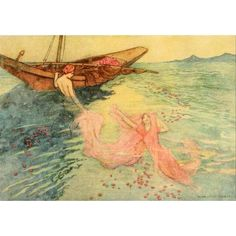 Folk Tales of Bengal 1912 They climbed into the boat Canvas Art - Warwick Goble (18 x 24)