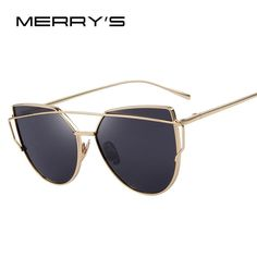 MERRY'S Hot Sale Fashion Cat Eye Sunglasses Classic Brand Designer Female Twin-Beams Coating Mirror Flat Panel Lens S'7882