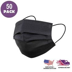 Pack of 50 - 3 Ply Black Disposable Face Mask Non Woven Mask with Ear Loop Starry String Lights, Photo Booth Backdrop, Backdrop Stand, Chair Sashes, Flower Stands, Personalized Wedding Favors, Different Light, Chair Covers, Paper Flowers
