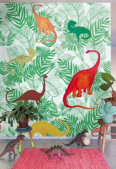 Dinosaur Jungle Wallpaper Panel by Onszelf. Height Width This panel can be repeated. Non Woven Wallpaper (paste the wall application) Wallpaper Paste, Wallpaper Panels, Of Wallpaper, Wallpaper Companies, Cool Kids Rooms, Kids Room Wallpaper, Kidsroom, Decoration, Room Inspiration