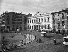 """Plaza de la Constitución y Palacio de la Diputacion Provincial. J. Lèvy et Cie, año 1889, en la exposición """" Zaragoza en la mirada ajena ( 2012 )"""