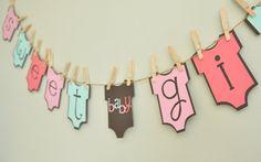Baby girl onesie banner, baby shower, onesie theme, baby girl, party banner, baby shower decoration on Etsy, Sold