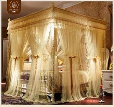 Details about Luxury bed canopy curtain valance double layers stainless steel frame queen king - Mosquito net Double layers bed curtain luxury bed netting beautify mosquito bar. Chinese mosquito n - Bedroom Layouts, Bedroom Sets, Bedroom Decor, Bedding Sets, Bedroom Storage, Bedroom Furniture, Bedroom Organization, Cozy Bedroom, Bedroom Lighting