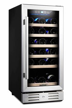 Kalamera 15'' Wine refrigerator 30 Bottle Built-in and Freestanding with Stainless Steel Double-Layer Tempered Glass Door and Temperature Memory Function -- Click image for more details.