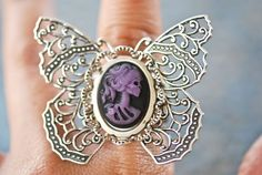 NEW  Miss Skeleton Butterfly Ring  Soldered  by blackpersimmons, $29.00