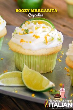 Lime and tequila added in moist and tender vanilla cupcakes sound as a really delicious combo. Boozy Margarita Cupcakes by The Slow Roasted Italian are amazing Margarita Cupcakes, Yummy Cupcakes, Liquor Cupcakes, Drunken Cupcakes, Buttercream Cupcakes, Margarita Recipes, Köstliche Desserts, Recipes, Food Cakes