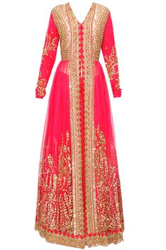 Sabyasachi Pink thread and sequins embellished lehenga set available only at Pernia's Pop-Up Shop.