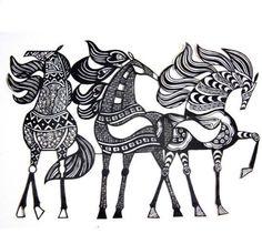 Dessin chevaux celtes