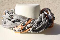 Schals - Loop Schlauchschal grau hellgrau apricot Schal - ein Designerstück von trixies-zauberhafte-Welten bei DaWanda
