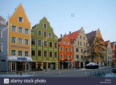 Theresienstrasse, houses, winter, Ingolstadt, Bavaria, Germany, Europe Stock Photo Germany Europe, Bavaria Germany, World Traveler, Beautiful Places, Wanderlust, Street View, Houses, Culture, Dreams