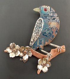 Blue Bird and Flowers pendant- sapphires, garnet, circuit board ~ on Artfire at THEBLUEKRAKEN