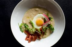 Grits with Fried Farm Eggs, Pickled Scallions, Red Ball Relish and Salted Ham Scraps Recipe from Chef David Chang.