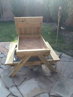 A kid size picnic table that converts to a sandbox!!