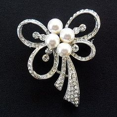 bow pearl and diamante brooch by yatris home and gift | notonthehighstreet.com
