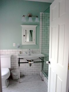 white subway tile black grout bathroom - Google Search