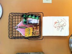 New use for a old wire basket, family pieces add the right touch.