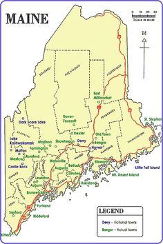 Stephen King's Maine Maps... coooollll... #StephenKing coauthor of #HardListening, written by a #bandofauthors!