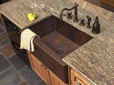 hammered copper farmhouse kitchen sink