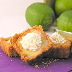 Mini Key Lime Pies: I doubled the crust recipe, & made thhe filling according to the Nellie & Joe's Key Lime Juice bottle (3 egg yolks, 1 can sweetened condensed milk, 1/2 cup juice.  Made 30 mini pies & followed this recipe for baking time.  Topped with stabilized whipped cream.