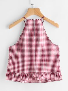 Shop Gingham Buttoned Keyhole Back Frill Halter Top online. SheIn offers Gingham Buttoned Keyhole Back Frill Halter Top & more to fit your fashionable needs. Crop Top Outfits, Summer Outfits, Girl Outfits, Cute Outfits, Blouse Styles, Blouse Designs, Girls Fashion Clothes, Fashion Outfits, Sexy Blouse