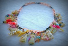 L-O-V-E!!!  Vintage 40s Celluloid Cracker Jack, Gumball Prize, Premium Charms on Pink Celluloid Chain Necklace.