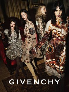 Butterfly + Snake Skin Print Dresses | Givenchy Fall Winter 2014 Ad Campaign.