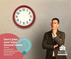 Don't plan your trips around hotels!  Enjoy the flexibility of desired check-in/check-out times.  Visit www.skylaservicedapartments.com to book with us