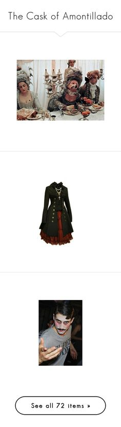 """""""The Cask of Amontillado"""" by eraser-head ❤ liked on Polyvore featuring backgrounds, pictures, pics, dresses, coats, jackets, outerwear, photos, lolita and white"""