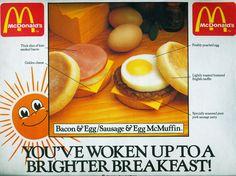 Mcdonalds Uk, Mcdonalds Breakfast, Sausage And Egg Mcmuffin, Sausage Seasoning, Bacon Egg, Poached Eggs, Vintage Ads, Toast, Pork
