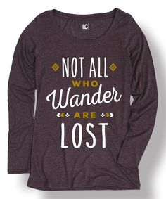 Another great find on #zulily! Heather Purple 'Not All Who Wander' Scoop Neck Tee by Cotton Jungle #zulilyfinds