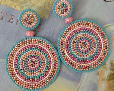 Pastel Confetti Splash Beaded Earrings Large Disc by WorkofHeart