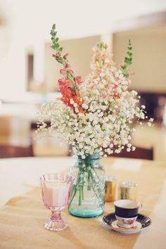Baby's breath Dusty miller and peach garden rose wedding centerpiece / http://www.deerpearlflowers.com/rustic-budget-friendly-gypsophila-babys-breath-wedding-ideas/3/