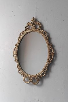 Gold Mirror In Vintage Oval Frame Small Bathroom Wall Mid Century Modern Entryway Decor Accents French Country Cottage