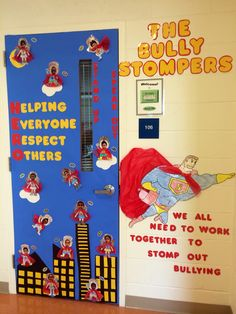 Superhero anti bullying door decoration