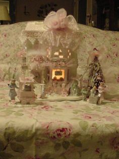 Shabby Pink Victorian Christmas Village Lighted Store House Chic Rose Glitter 4 | eBay