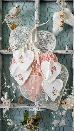 Wire hearts, embroidery hearts, romantic pink, shabby chic decor