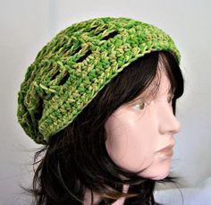 Boho Crochet Slouchy Beanie, Green Beret, Soft Chemo Hat, Lime Green, Boho Gypsy Style, Women's Hat, Teen Hat, Ladies Tam by pinoakstudiotoo on Etsy
