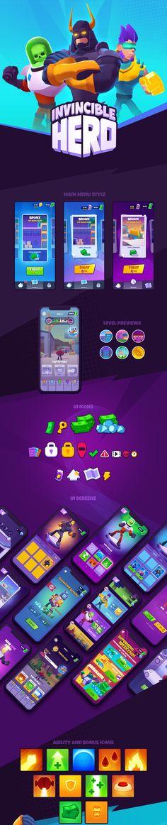 """""""INVINCIBLE HERO"""". UI/Icons/Concepts/3D Assets on Behance Game Design, Ui Design, Unity 3d, 3d Assets, Ios Icon, Game Ui, Behance, Hero, Concept"""
