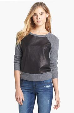 Halogen® Leather & Cashmere Sweater | Nordstrom